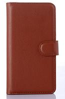 Кожаный чехол книжка для Nokia Lumia 925 коричневый