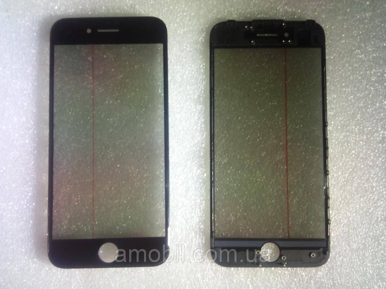 Стекло с дисплейной рамкой , OCA плёнкой и поляризационной плёнкой для iPhone 7 чёрное orig качество