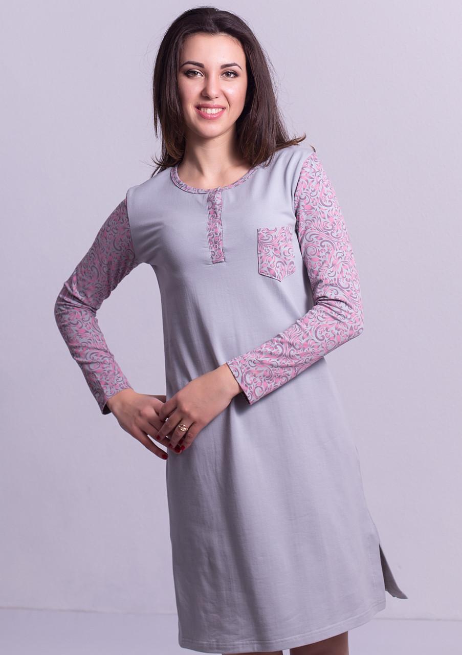 Теплая пижама длинная сорочка домашняя ночнушка женская хлопковая с начесом трикотажная