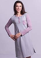 Теплаяпижама длинная сорочка домашняя ночнушкаженская хлопковая с начесом трикотажная