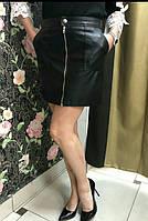 Юбка черная эко-кожа с карманами