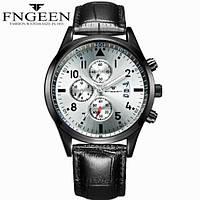 Часы марка FNGEEN 5410 серебро  Несколько циферблатов, число, флуоресцентные стрелки.
