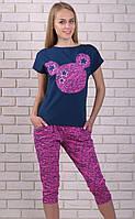 Пижама с бриджами женская комплект Pink домашняя одежда трикотажная хлопковая
