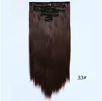 Накладные ровные волосы  7 прядей на клипсах,трессы длинна 55 см. - 130 грамм