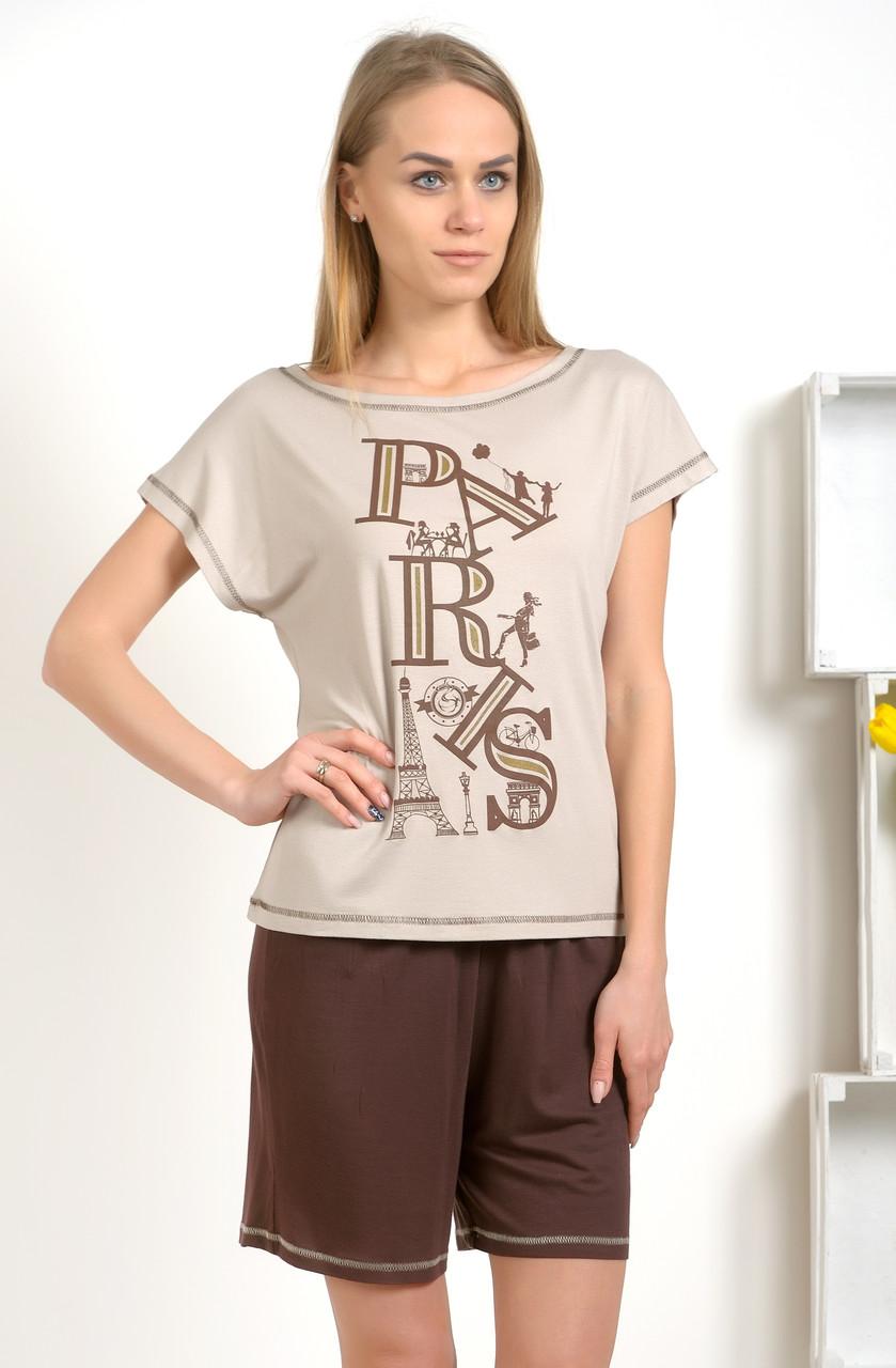 Пижама женская Paris комплект домашний майка и шорты из вискозы - Интернет магазин Sport-sila.com.ua в Вышгороде