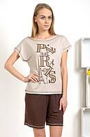 Пижама женская Paris комплект домашний майка и шорты из вискозы 44