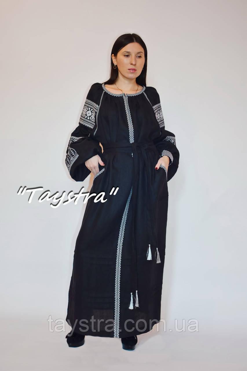 Вышитое черное платье серебряная вышивка, этно стиль бохо, Вышиванка платье лен, украинская вышивка