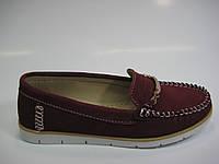 Женские замшевые мокасины цвета бордо, фото 1