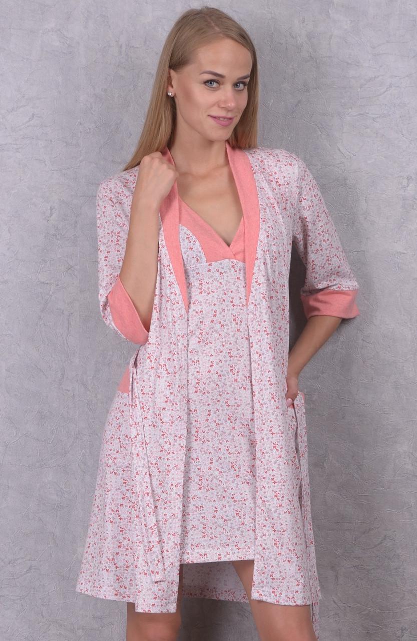 Пижама с халатом комплект женский домашний хлопковый трикотажный