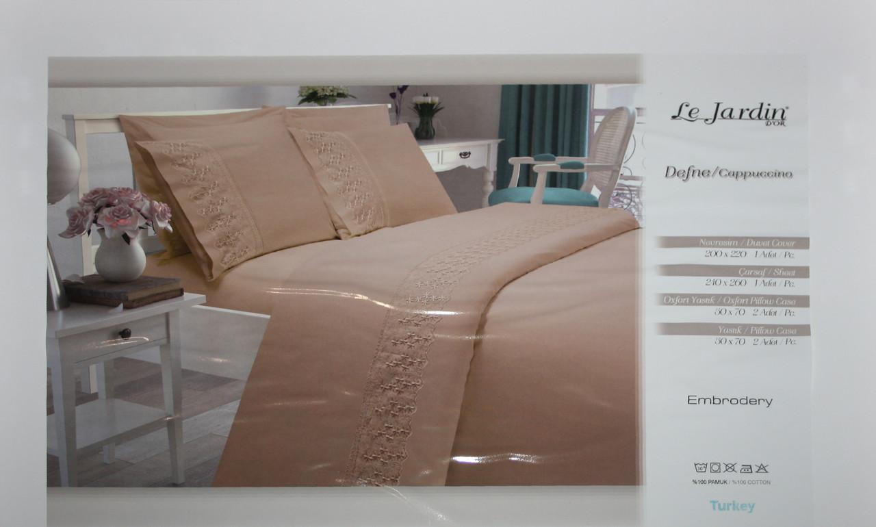 Комплект постельного белья с ажурной вставкой Le Jardin Defne Cappuccino