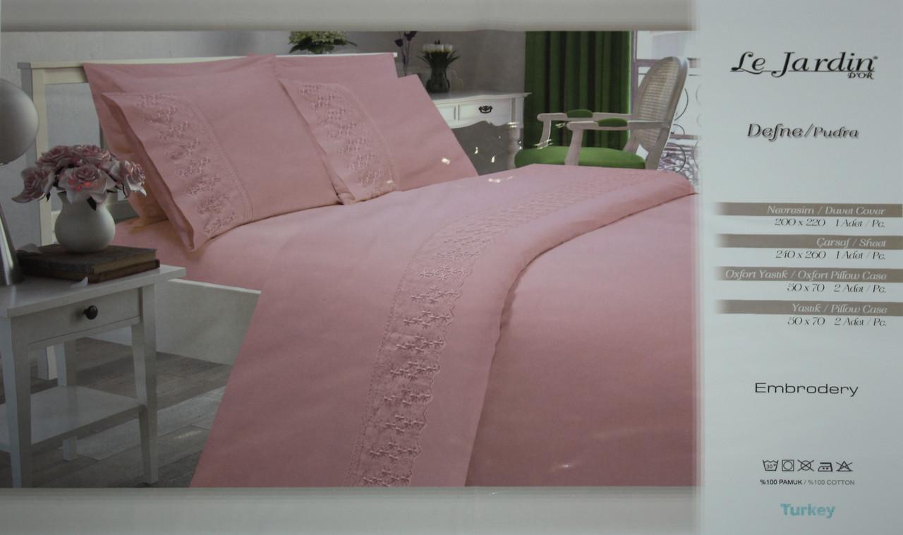 Комплект постельного белья с ажурной вставкой Le Jardin Defne Pudra
