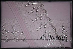 Комплект постельного белья с ажурной вставкой Le Jardin Defne Pudra, фото 2