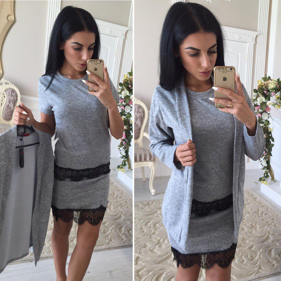Теплый костюм (48-52) 3-ка топ+юбка+кардиган  серый