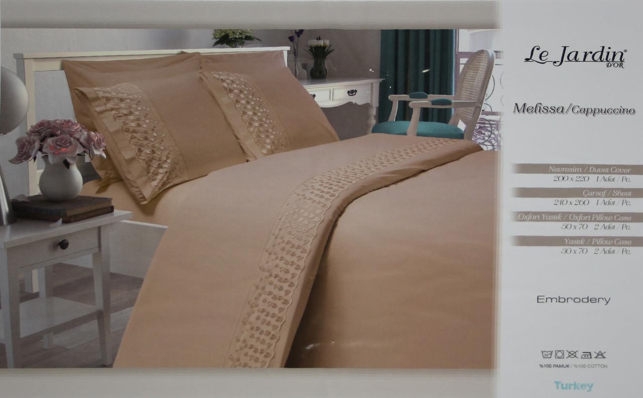 Комплект постельного белья с ажурной вставкой Le Jardin Melissa Cappuccino