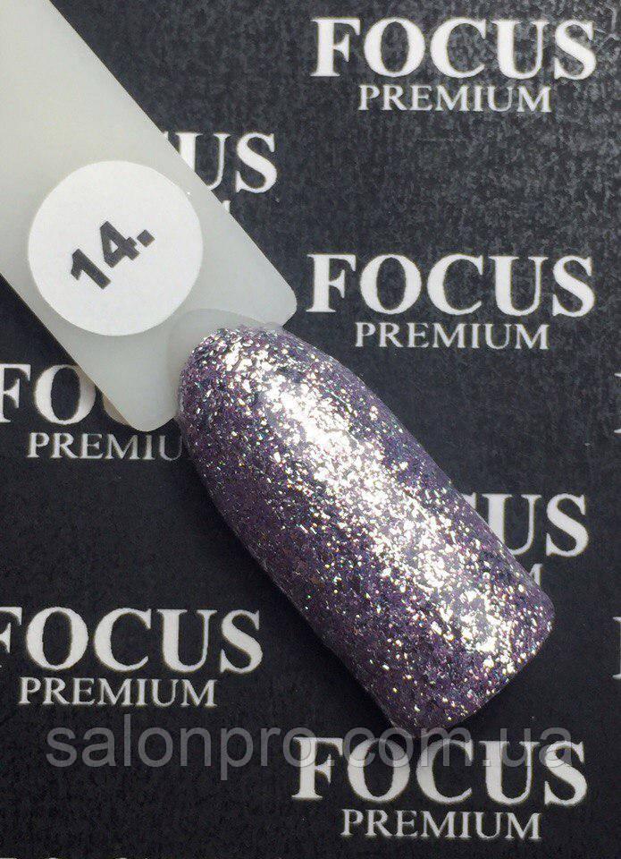 Гель-лак FOCUS Titan  №014 (серебро с сиреневым микроблеском, глиттер), 8 мл