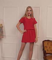 Женское летнее платье мини V-образный вырез однотонное красное