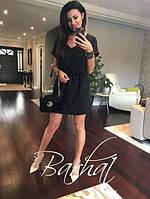 Женское летнее платье мини V-образный вырез однотонное черное