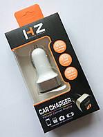 Универсальное зарядное устройство HZ USBx2*2.1A с вольтметром в прикуриватель 12-24V (HC1 9001)