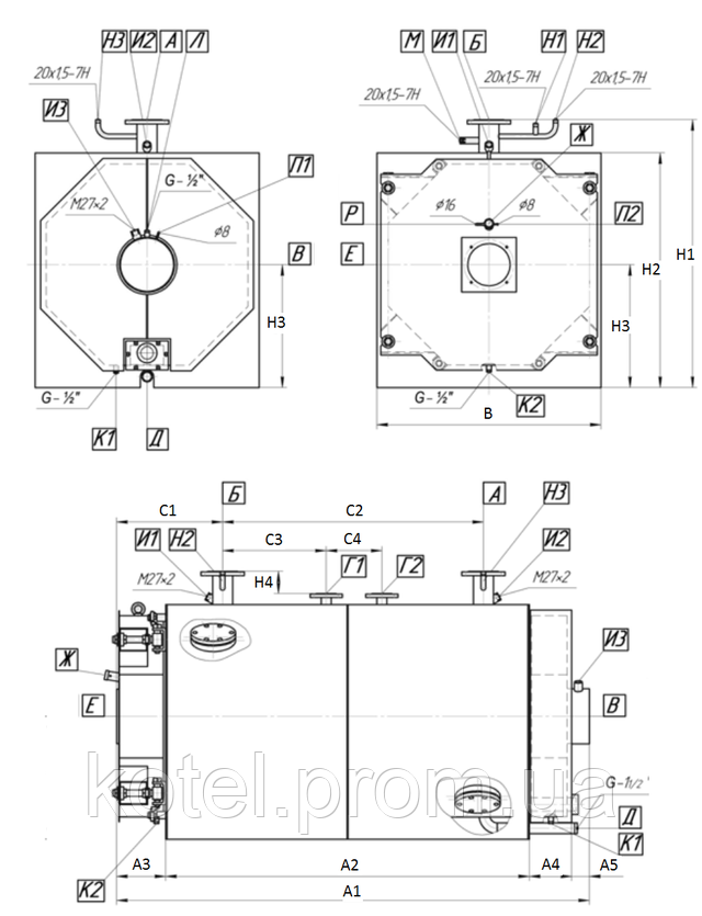 Габаритные и присоединительные размеры газового жаротрубного котла Колви 140
