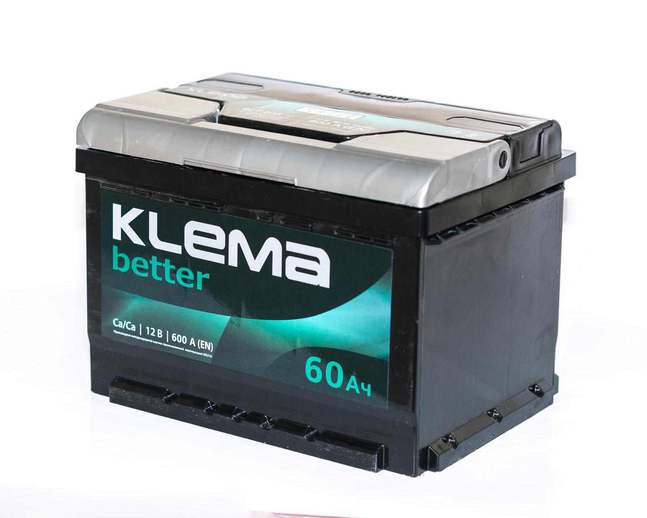 Аккумулятор автомобильный 6СТ-60Ач. 600A  KLEMMA (Westa)