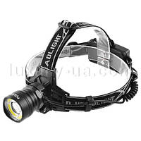 Фонарь на лоб Police BL-8004-T6+COB, signal light, 2х18650, ЗУ 12V/220V, zoom
