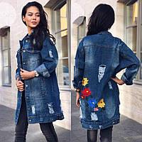 Удлиненная джинсовая куртка с вышивкой сзади