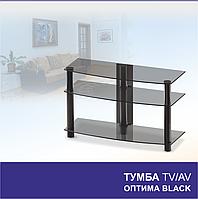 Тумба из стекла под телевизор Оптима Black/Metallic (900х345х567)