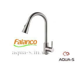 Смеситель для кухни Falanco 8110 из нержавеющей стали (AISI 304) c вытяжным шлангом