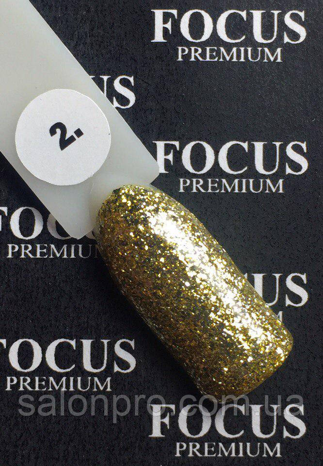 Гель-лак FOCUS Titan  №002 (золото с блесточками, глиттер), 8 мл