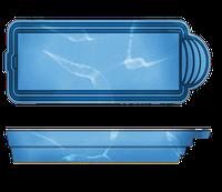 """Стационарный стекловолоконный усиленный бассейн """"Одесса"""" 8,0х3,2 глубиной 1,5м."""