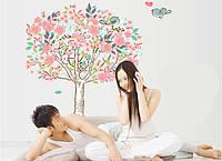"""Интерьерная наклейка на стену """"Дерево с птичками DF5103"""""""