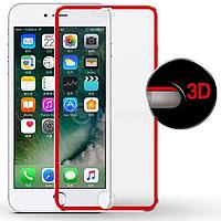 Защитное стекло с алюминиевой рамкой для iPhone 7 Red
