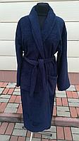 Махровый мужской халат синего цвета  (L), фото 1