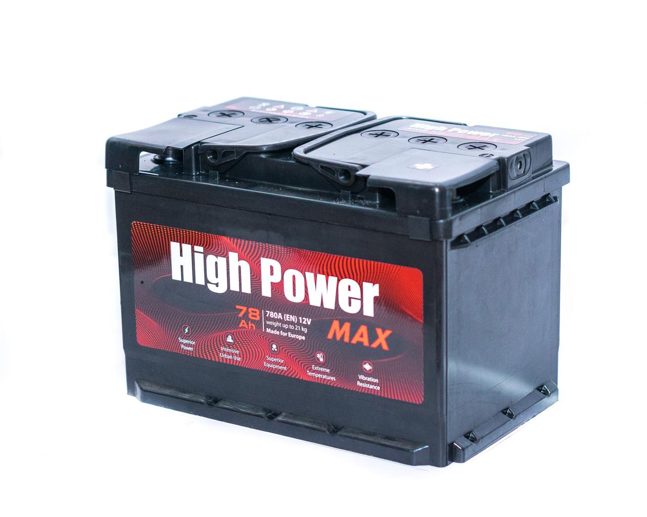 Аккумулятор автомобильный 6СТ-78Ач. 780A. HIGH POWER MAX