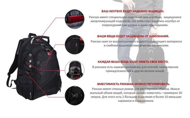 Высокое качество исполнения рюкзака Swiss Men Bag