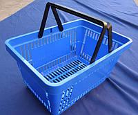 Корзинки пластиковые для покупателей на 22 л. с двумя ручками. Цвет синий. Новые.