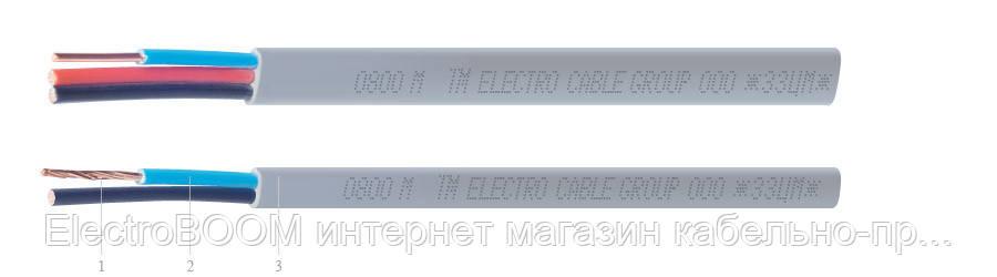 Кабель ЗЗЦМ ВВГ-П 2х1,5 сірий