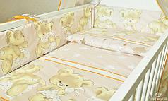 Детское постельное белье в кроватку, постельный комплект Мишка подушка бежевый