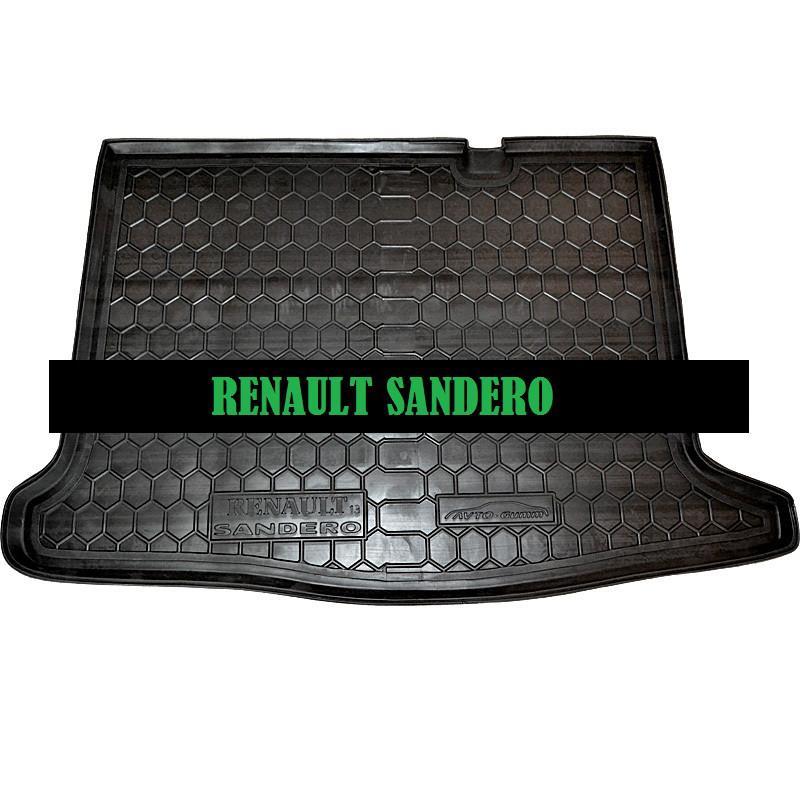Полиуретановый коврик в багажник Renault Sandero (2013>) (Avto-