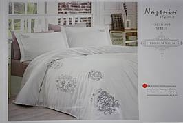 """""""Hurrem Krem"""" постельное белье с вышивкой Евро размера Nazenin home"""