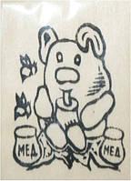 "Заготовка ""Мишка с медом"" на магните с контурами рисунка, бук, 6см*9см, произ-во Украина"
