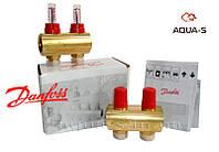 Пара распределительных коллекторов для теплого пола на 2 выхода (с расходомерами) Danfoss FHF