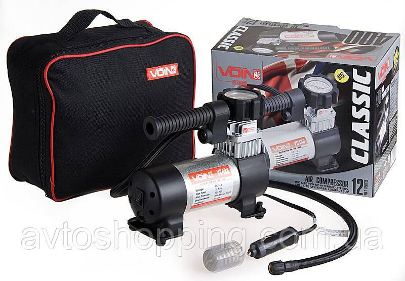 Автомобильный компрессор VOIN VC-400 c манометром, 20 л/мин, 10 Атм, 14А
