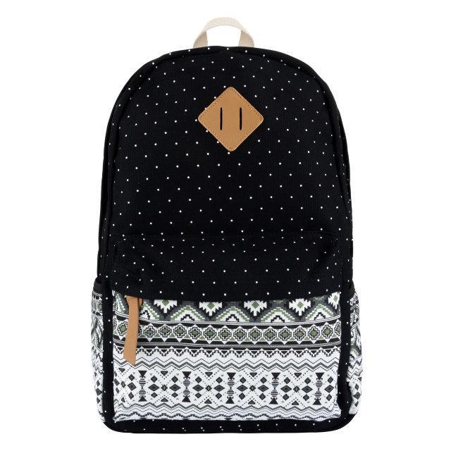 Молодежный рюкзак с орнаментом на кармане черный