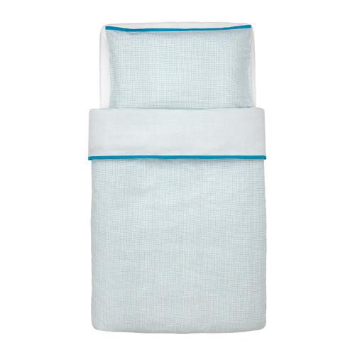 Пододеяльник и наволочка для кроватки IKEA KLÄMMIG 110x125/35x55 см бирюзовый 503.730.16