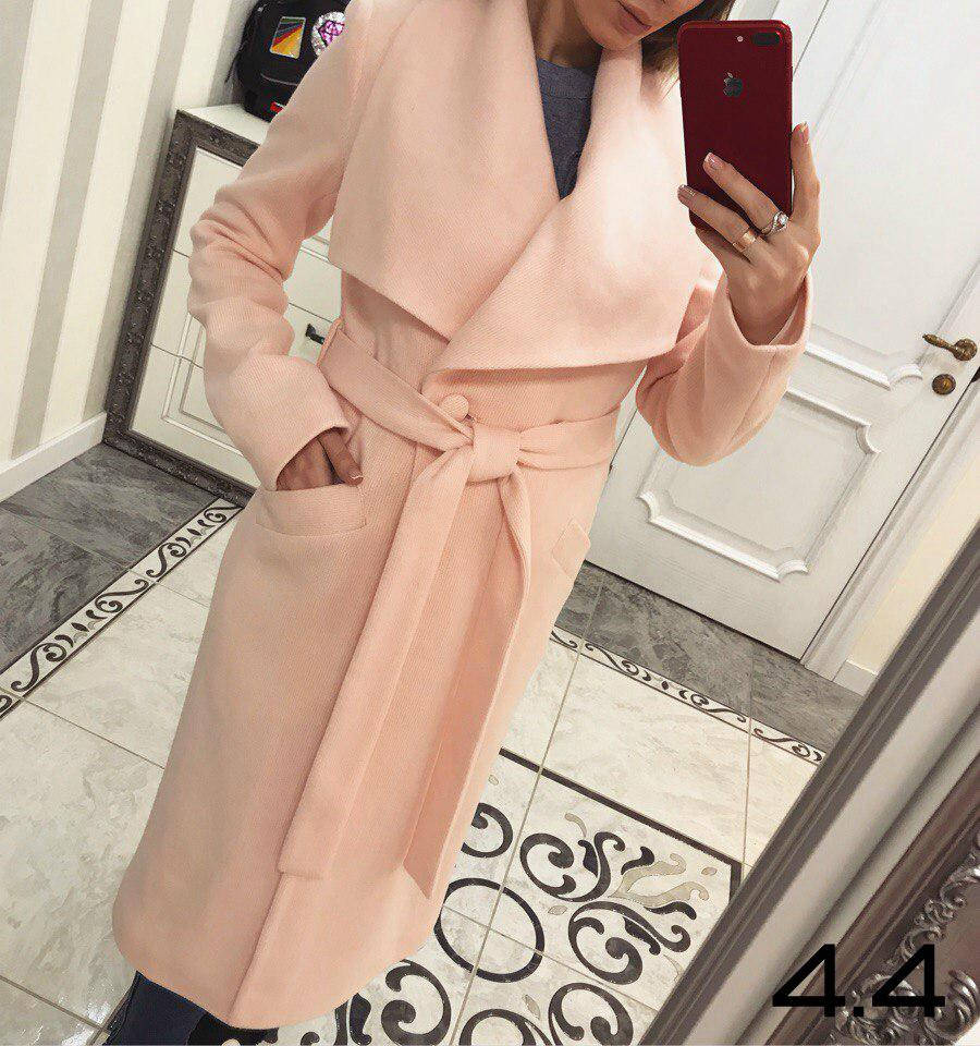 Женское демисезонное пальто с отложным воротником, в расцветках