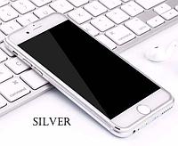 Защитное стекло с алюминиевой рамкой для iPhone 6/6S Silver