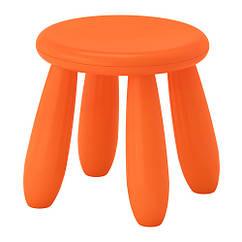 Табурет детский для дома и улицы IKEA MAMMUT оранжевый 503.653.61