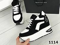 Кроссовки черно белые на платформе