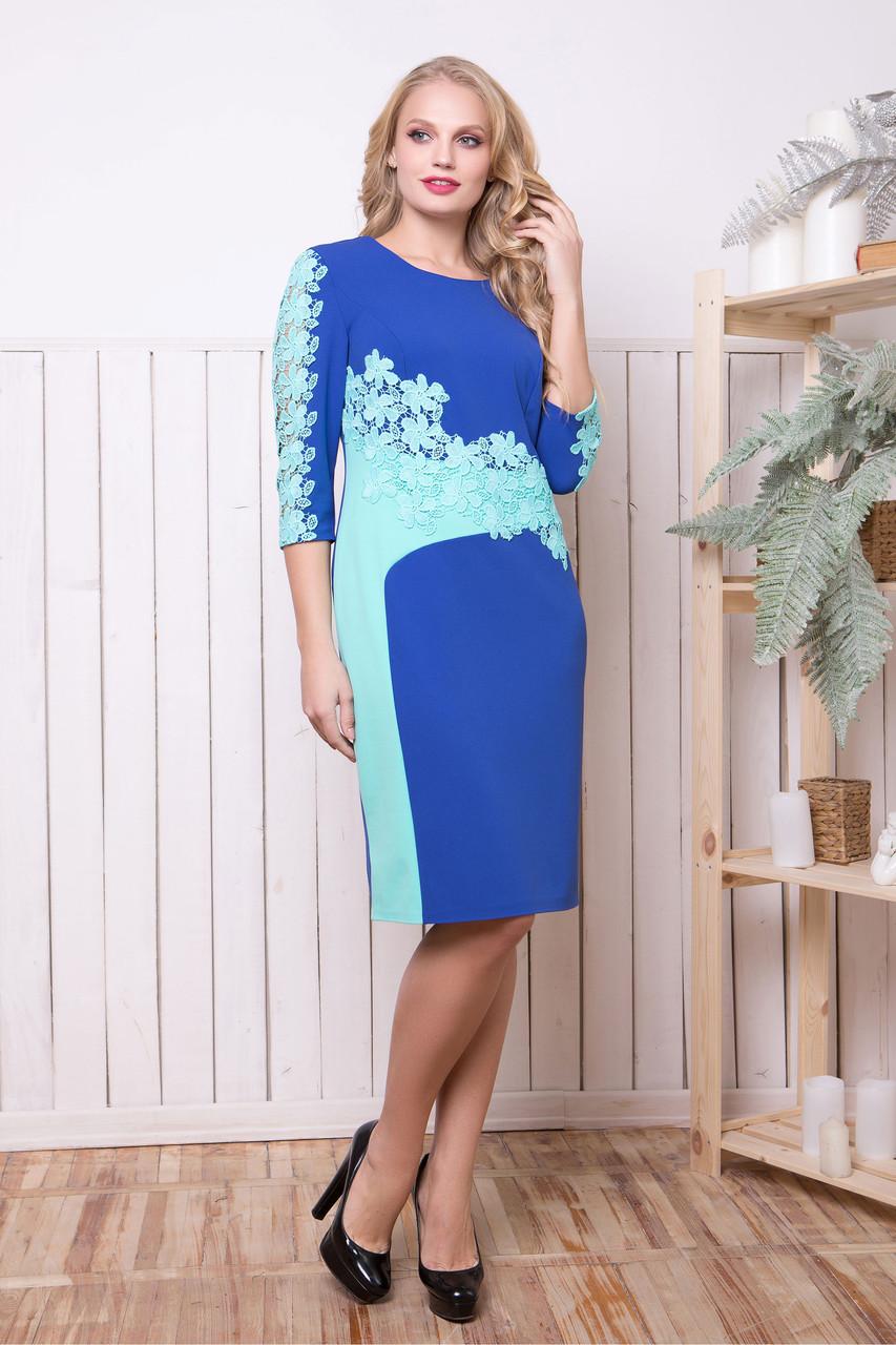 45d7b8311742 Красивое нарядное женское платье Эмма синий-бирюза (50-56)